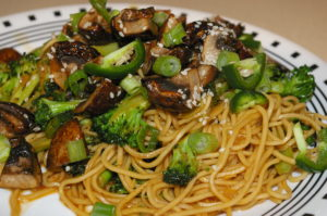 Teriyaki Soba Noodles with Roasted Mushrooms