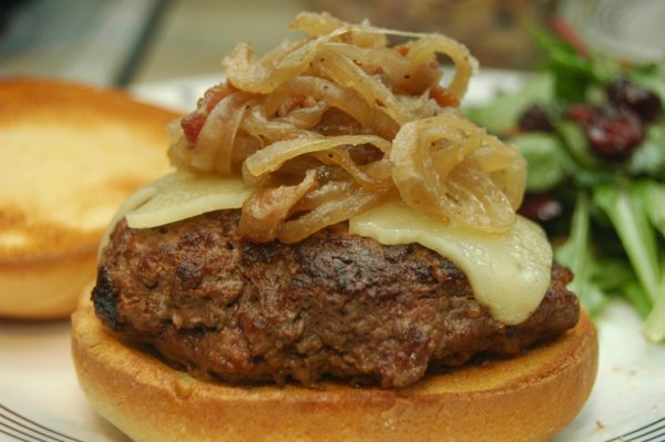 Bison Burger with Caramelized Onions and Bacon