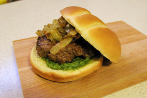 Lamb Burger with Mint Basil Pesto