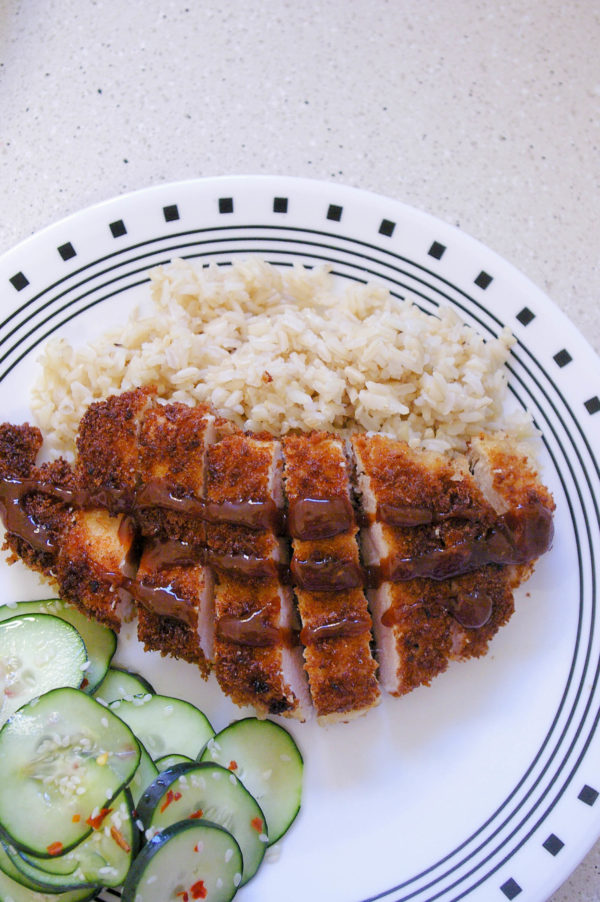 Homemade Classic Chicken Katsu with Asian Cucumber Salad