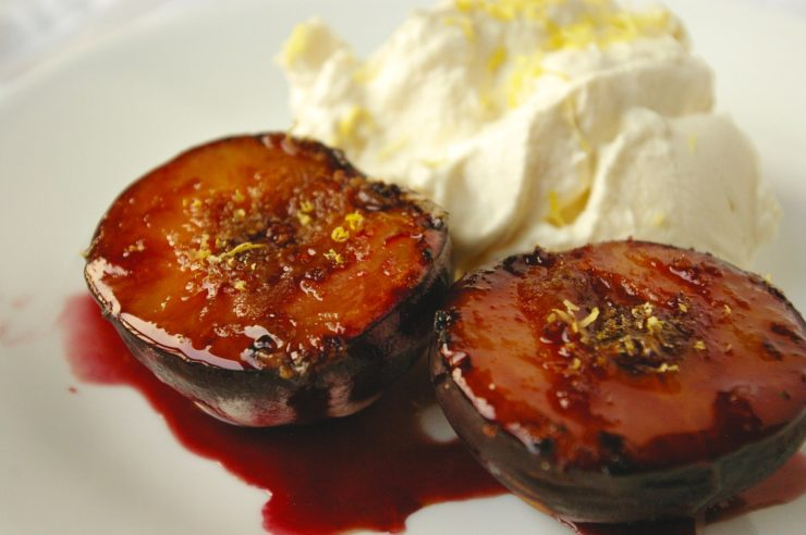 Brandy Lemon Baked Plums