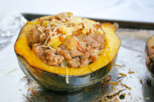 Sausage Apple Stuffed Acorn Squash
