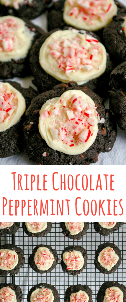 These Triple Chocolate Peppermint Cookies are rich and full of dark chocolate, milk chocolate and white chocolate - perfect for the holiday season.