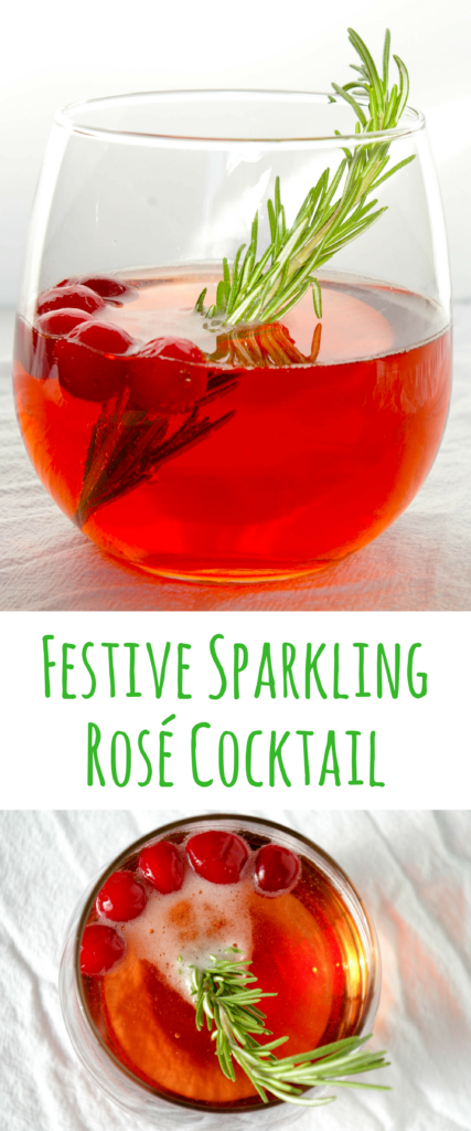 Using sparkling rosé wine and the flavors of rosemary and cranberry, this festive sparkling rosé cocktail is perfect for your holiday parties!