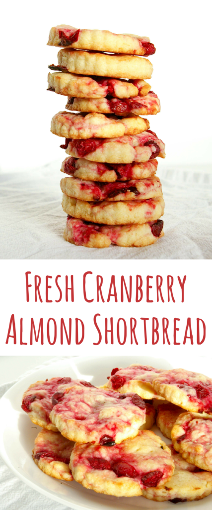 These Fresh Cranberry Almond Shortbread Cookies are light and perfect with a cup of tea. Tart flavors balanced with the perfect amount of sweetness.