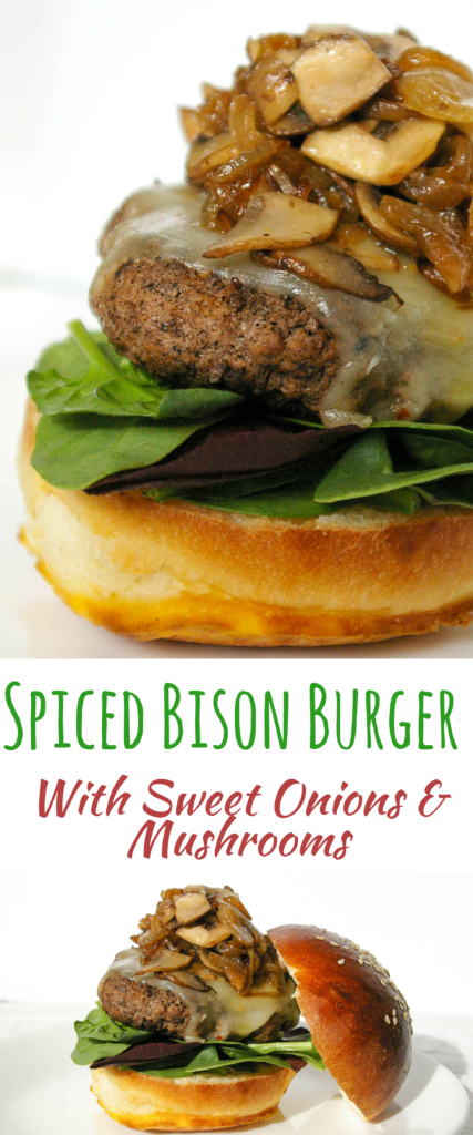 A delicious game day meal is this spiced bison burger with sweet onions and mushrooms. Full of sweet and spicy flavors and easy to throw together for a weeknight dinner. The flavors are sure to impress.